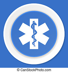 emergency blue flat design modern web icon