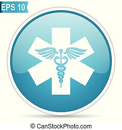 Emergency blue glossy round vector icon in eps 10. Editable modern design internet button on white background.