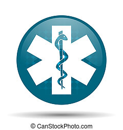 emergency blue glossy web icon