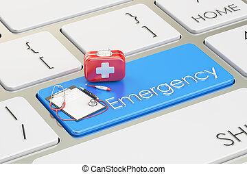 Emergency blue key on keyboard, 3D rendering