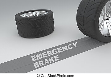 Emergency brake safety conceptual image of 3D rendered...