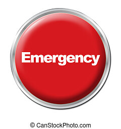 Emergency Button - a round red button with a word Emergency
