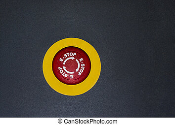Emergency button on black isolated background.