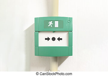 Emergency button, safety button to disable and to open the safety door in case of emergency escape from fire