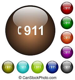 Emergency call 911 color glass buttons