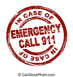 Emergency Call 911 - Stylized red stamp showing the term...