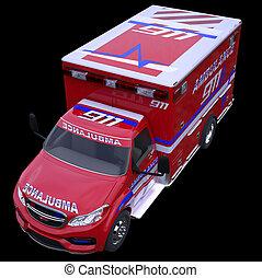 Emergency call and 911: ambulance van isolated on black