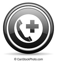emergency call black circle glossy web icon