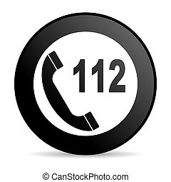 emergency call black circle web glossy icon