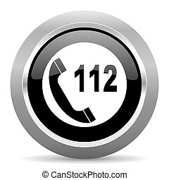 emergency call black metallic chrome web circle glossy icon