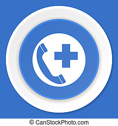 emergency call blue flat design modern web icon
