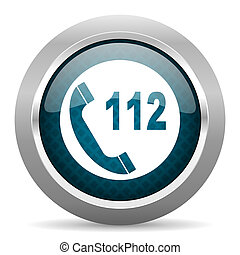 emergency call blue silver chrome border icon on white background