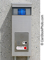 Emergency Call Box - An emergency call box in a parking...