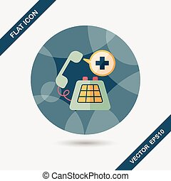 emergency call flat icon with long shadow