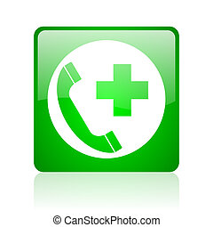 emergency call green square web glossy icon
