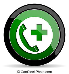 emergency call green web glossy icon with shadow on white background
