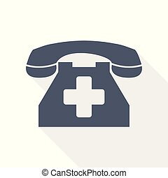 emergency call icon, phone with cross sign