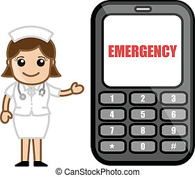 Emergency Call - Medical Cartoon - Cartoon Cute Nurse...