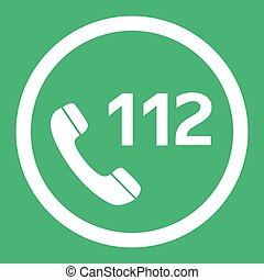 Emergency call number 112 flat design vector icon. Web button in eps10.