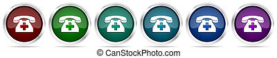 Emergency call, phone icons, set of silver metallic glossy web buttons in 6 color options isolated on white background