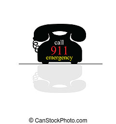 emergency call phone vector art illustration on white