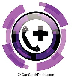 Emergency call pink violet modern design vector web and smartphone icon. Round button in eps 10 isolated on white background.