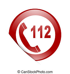 emergency call red circle glossy web icon