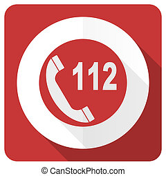 emergency call red flat icon 112 call sign