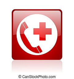 emergency call red square web glossy icon