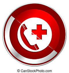 Emergency call red web icon. Metal shine silver chrome border round button isolated on white background. Circle modern design abstract sign for smartphone applications.