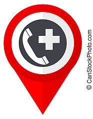 Emergency call red web pointer icon. Webdesign button on white background.