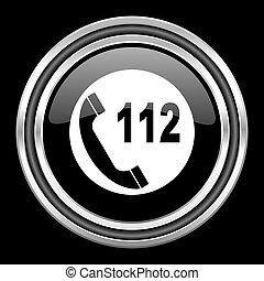 emergency call silver chrome metallic round web icon on black background