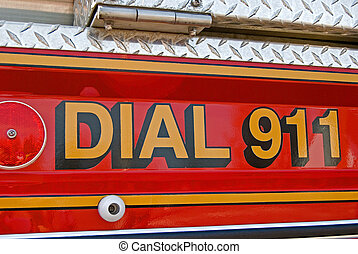 Emergency Call - Emergency 911 on fire truck.