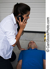 emergency call - rescuer call emergency number after a fatl...