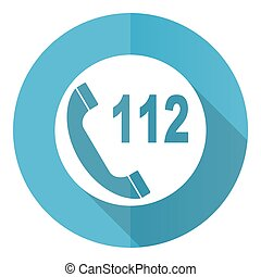 Emergency call vector icon, flat design blue round web button isolated on white background