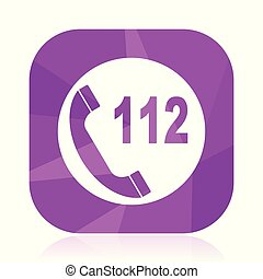 Emergency call violet square vector web icon. Internet design and webdesign button in eps 10. Mobile application sign on white background.