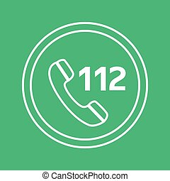 emergency call white and green vector icon, circle flat design internet button, web and mobile app illustration