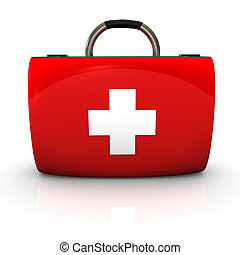 Red emergency case with white cross on the white background.