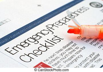 Emergency checklist