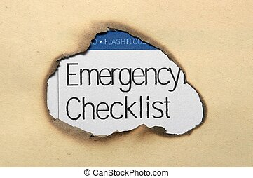 Emergency checklist