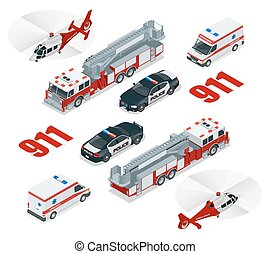 Emergency concept. Ambulance, Police, Fire truck, cargo truck, helicopter, emergency number 911. Flat 3d isometric city transport icon set.