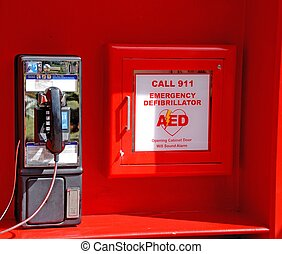 emergency defibrillator at theme park in orlando florida usa