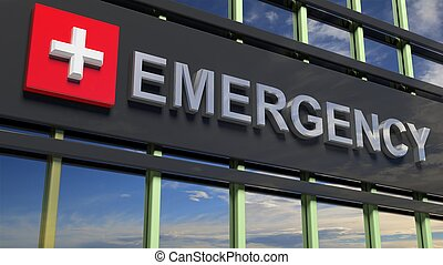 Emergency department building sign closeup, with sky...