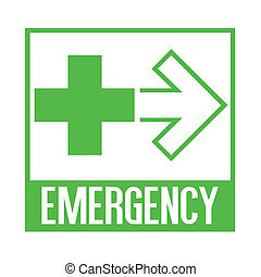 Emergency direction sign illustration