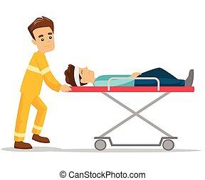 Emergency doctor transporting man on stretcher.