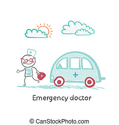 Emergency doctor with the machine