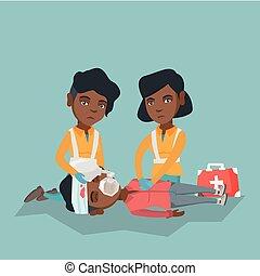 Emergency doing cardiopulmonary resuscitation. - African-...