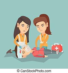 Emergency doing cardiopulmonary resuscitation. - Caucasian ...