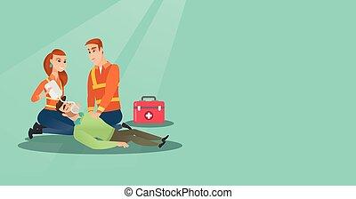 Emergency doing cardiopulmonary resuscitation - Caucasian ...
