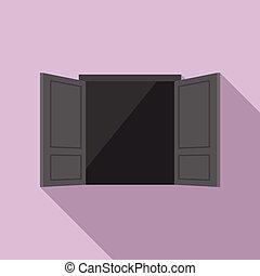 Emergency door icon, flat style